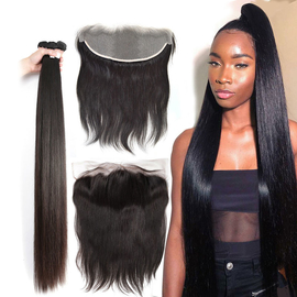 Best Quality Peruvian Virgin Remy Human Hair 40 inch Hair Extensions Silky Straight Can be Bleached