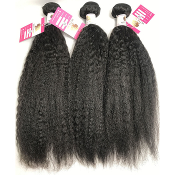 100% Virgin Peruvian Human Hair Bundles Kinky Straight Natural Black Hair Extensions