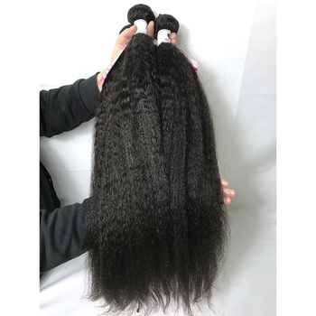 Unprocessed Virgin Peruvian Human Hair Kinky Straight Natural Black Hair Extensions