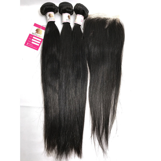 Brazilian Virgin Unprocessed Remy Human Hair Weave with Lace Closure Human Hair