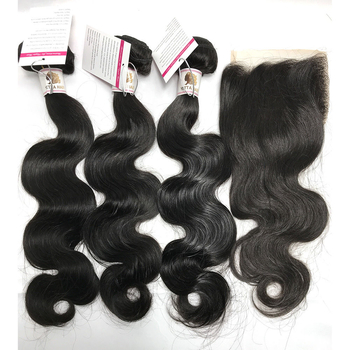 Peruvian Virgin Human Hair Extensions Body wave Hair Weave with Lace Closure