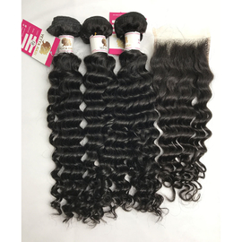 Top Quality Virgin Peruvian Hair Extensions with Human Hair Lace Closure Deep Wave