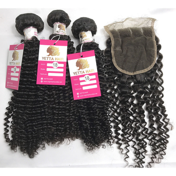 100% Pure Virgin Peruvian Human Hair Bundles Kinky Curly with Lace Closure Human Hair