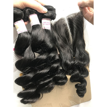 Best Quality Virgin Hair Extensions Loose Wave Peruvian Hair Human Hair Weave Closure