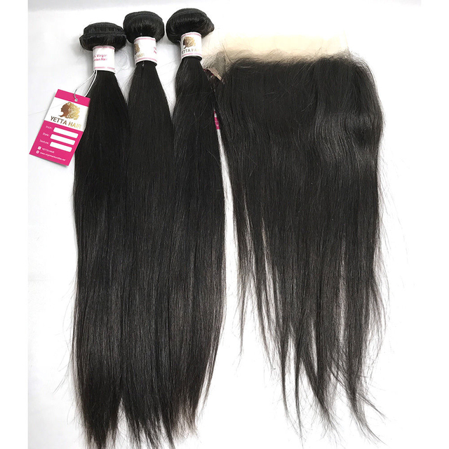 The Best 100 Virgin Human Hair Extensions Silky Straight with Peruvian Lace Frontal Closure