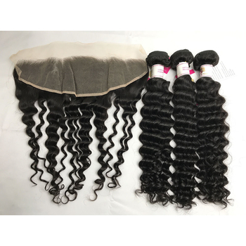 The Best Quality Peruvian Deep Wave Hair Extension with Ear to Ear Lace Frontal 100% Virgin Human Hair